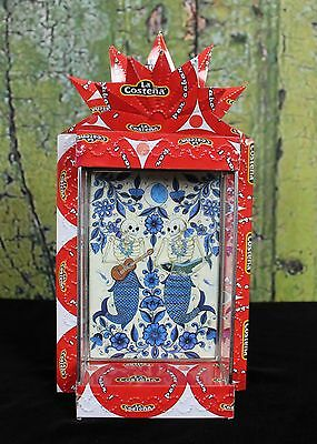 Day of the Dead Mermaid Sirena Recycled Tin Reliquary Nicho Folk Art los Muertos