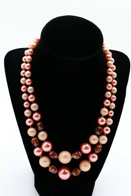 Vintage Goldtone Chunky Round Peach Coral Plastic Faux Pearl Strand Necklace