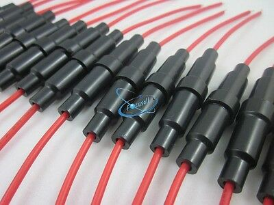 50PCS 6x30mm 6X32 AGC Glass Blow Fuse Holder Inline screw type with 20 AWG wire