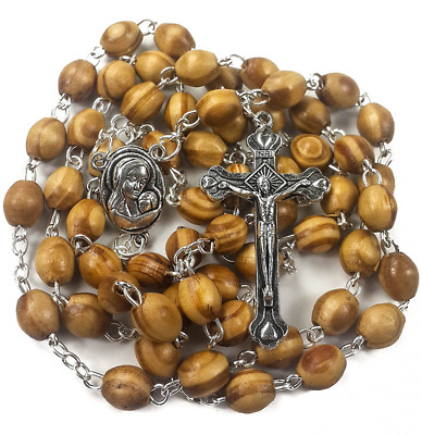 Catholic Prayer Rosary Olive Wood Beads Necklace Holy Soil Medal & Metal Cross