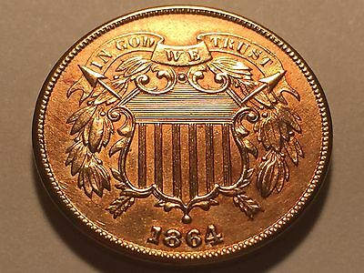1864 Two Cent Piece  * Choice BU Red #4 *