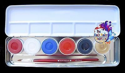Superstar Carnival & Party Face Paint Palette 6 x 5g +  Free Brush