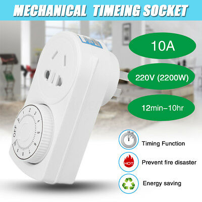 220V 10A Electrical Mechanical Timer Plug Mains Wall Socket Outlet Time Switch