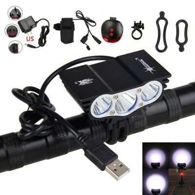 12000LM 3X XML T6 LED SolarStorm USB Cycling Lamp Bicycle Bike Headlight Battery