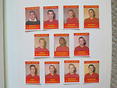 FOOTBALL TEAM R STANDARD 11 MATCH BOX LABELS c1960 NORMAL SIZE MADE in BELGIUM
