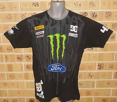 Large Mens Ken Block #43 Monster World Rally Team Rally T Shirt Tee Pre Owned