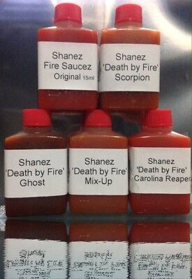 5x15ml Carolina Reaper, Ghost, Scorpion Mix-up 'DBF'(Hot Sauce) Shanez