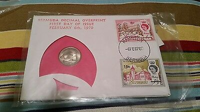 1970 Bermuda First Day  Issue 99 Company 5 cent coin plus stamps