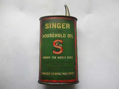 SINGER SEWING MACHINE OIL HANDY OILER 3 FL OZ TIN c1920s MADE in GREAT BRITAIN