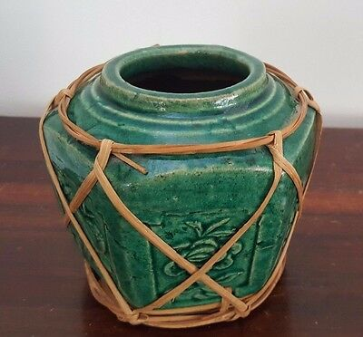 Large Chinese Green Ginger Jar