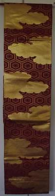 Genuine Japanese Kimono Obi - Red with Gold Cloud Motif