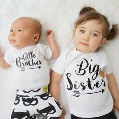 AU Big Little Sister T-shirt Tops Newborn Baby Kids Bodysuit Romper Outfits New