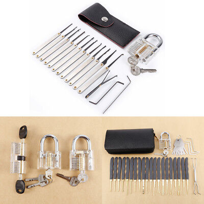 Key Pick Training Set Clear Practice Padlock Tool Lock Kit Key Guides Unlocking