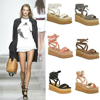 Womens Ladies Flat Wedge Espadrille Lace Tie up Sandals Platform Summer Shoes AU