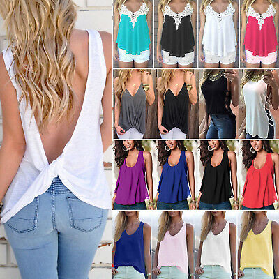 Womens Sleeveless T-Shirt Vest Ladies Summer Loose Tank Tops Blouse Tee Casual