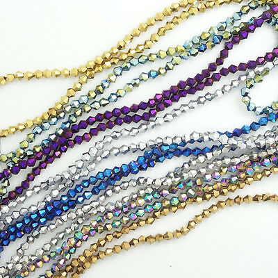 Bicone Faceted Crystal Glass Loose Spacer Beads DIY 4mm/6mm