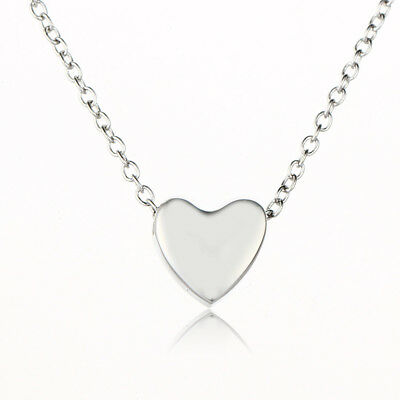 925 Silver Gold Heart Choker Pendant Bib Necklace Chain Women Charm Jewelry