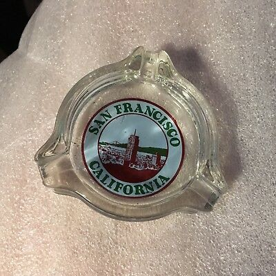 1930s art deco San Francisco glass ashtray Golden Gate Bridge & downtown bldgs.