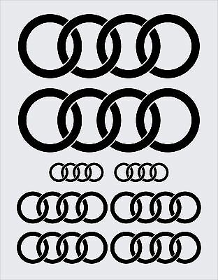COMPLETE 8 PCE SET: AUDI RINGS STICKERS DECALS in GLOSS BLACK COLOUR