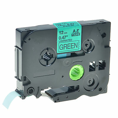 Black on Green Label Tape For Brother TZe-731 TZ-731 PT-2730 PT-320 P-touch 12mm