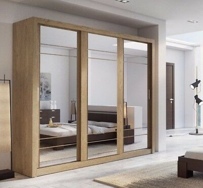 Brand New Modern Bedroom Sliding Door Mirror Wardrobe ARTI 2 250cm Shetland Oak