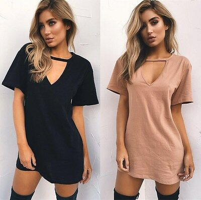 Women Choker V Neck Long Top T-shirt Ladies Casual Party Mini Dress Blouses