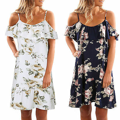 Women Off Shoulder Floral Holiday Party Short Mini Dress Summer Beach Sundress