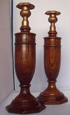 Pair of beautifully grained, wood turned, highly polished, oldish candlesticks.