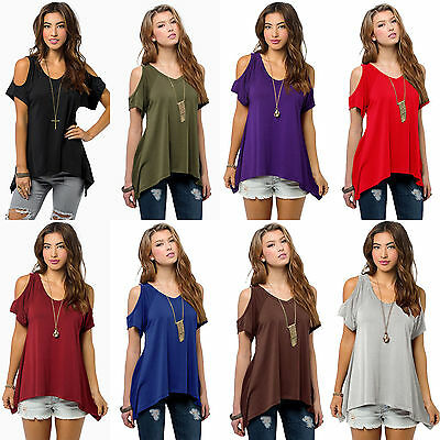 Women Summer Cold Shoulder Loose Top Short Sleeves Blouse Tops T-Shirt Plus Size