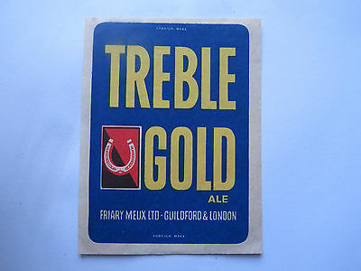 TREBLE GOLD ALE MATCHES MATCH BOX LABEL c1950s LARGE SIZE FOREIGN MADE
