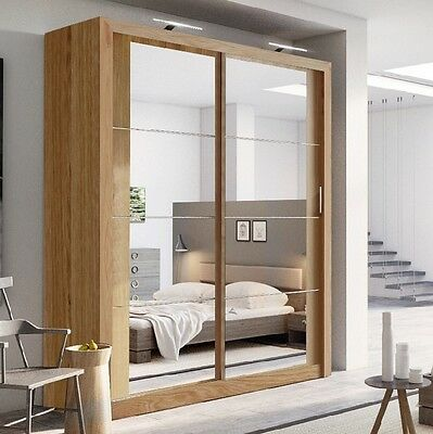 Brand New Modern Bedroom Sliding Door Wardrobe Arti 3 181cm in Oak Shetland
