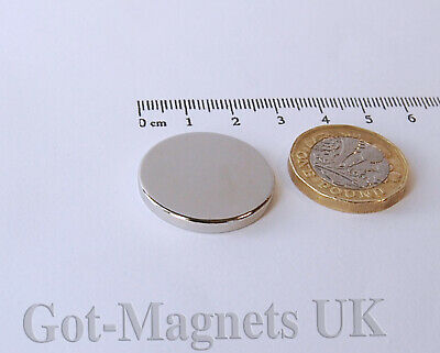 25x3 mm (N52) Neodymium Disc Magnet 25mm dia x 3mm Very Strong DIY