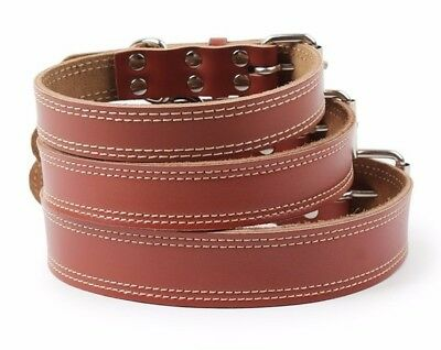 Soft Leather Dog collars - 3 Sizes Small Medium Large - Top Quality Reinforced
