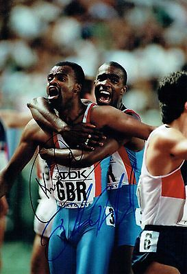 Kriss AKABUSI & Derek REDMOND SIGNED Autograph 12x8 Photo 1 AFTAL COA Athletics