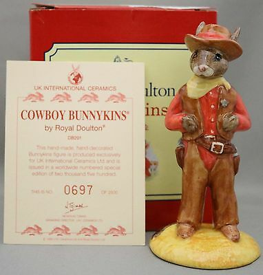 Royal Doulton Bunnykins - 'Cowboy' - DB201 - Limited Edition in Box Certificate.