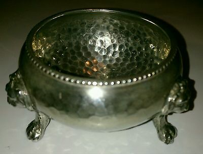 Antique Arts and Crafts silver plated salt lion headed tri paw legs