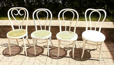 Antique Vintage Old Thonet style bentwood chair. 4 white chairs