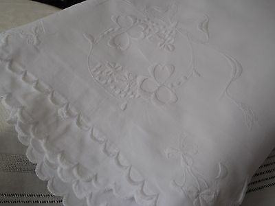 1930s 7ft 6in wide Irish Bed Linen Hand Embroidered Scalloped edge Cotton sheet