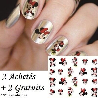 ❤️nouveau Stickers 3D Minnie Mouse Disney Bijoux Ongles Water Decals Nail Art