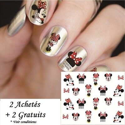 ❤️nouveau Stickers 3D Minnie Mouse Disney Bijoux Ongles Water Decal Nail Art
