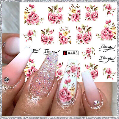 ❤️Nouveau Stickers Roses  Bijoux Ongles Water Decals Nail Art Manucure
