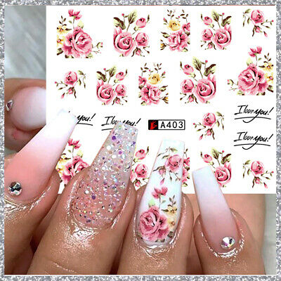 ❤️nouveau (40) Stickers Roses  Bijoux Pour Ongles Water Decals Stickers Nail Art