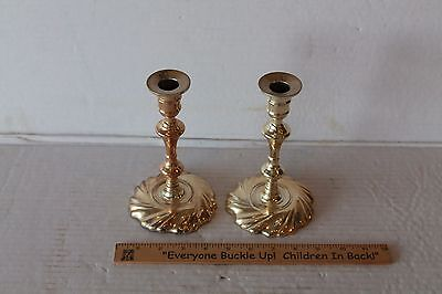 "Beautiful Vintage Matching Set of 2 Brass 7"" Tall Candlestick Holders round base"
