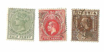 Stamps Lagos Queen Victoria 1886 & Nigeria KGV King George Penny & Tuppence