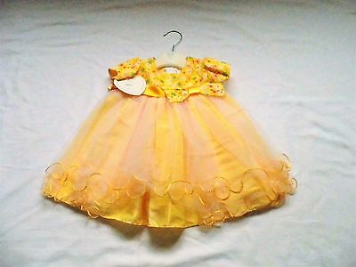 Baby Girl Short Sleeved Special Occasion Yellow Dress With Netting Overlay