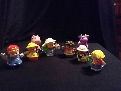 Fisher Price Little People x 6 and 2 Other Type Pieces A Cow & A Pig