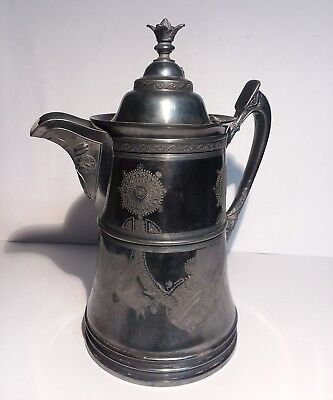 Reed Barton Ice Water Pitcher Seamless Lining Etched Silverplate Marked 1424