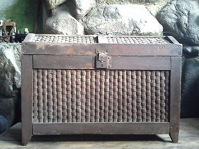 Vintage Antique Wooden Knitted Chest