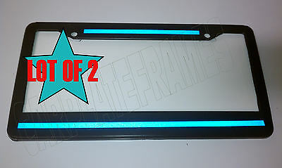 LOT OF 2 Top Bottom Blue Line License Plate Frame thin REFLECTIVE police safety