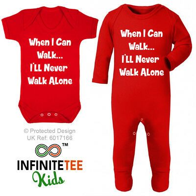 I'll Never Walk Alone Baby Grow Funny Newborn Football Vest Liverpool Club Gift